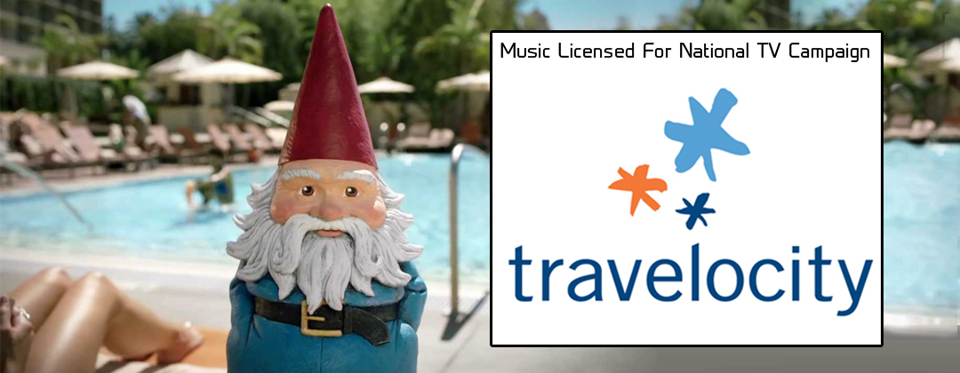 Travelocity Gnome national television commercial You'll never roam alone licensed Steel Buns through Alibi Music Library